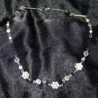 SILVER PLATED FLOWER AND BEAD NECKLACE